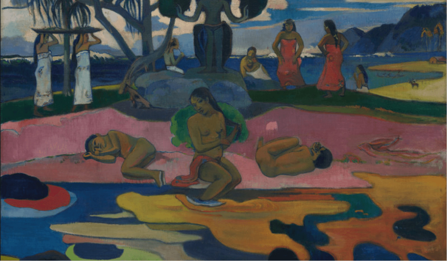 Paul Gauguin is best known for his brightly-colored paintings of Tahitians. Pictured is 1894's 'Day of the God (Mahana no Atua). 'The Art Institute of Chicago
