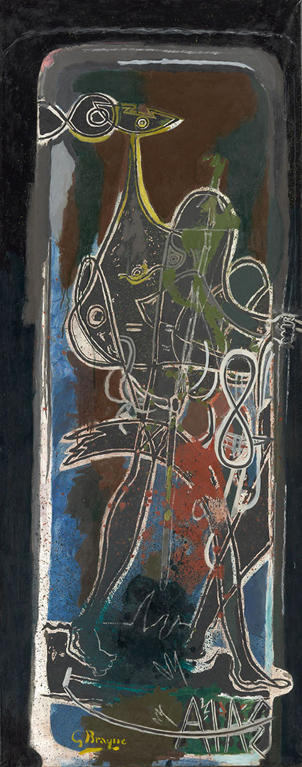 Georges Braque, Ajax, 1949-54, oil on paper mounted on canvas, 179 x 71 cm, Bequest of Florene May Schoenborn, Art Institute of Chicago #1997.447, © 2015 Artists Rights Society (ARS), New York - ADAGP, Paris