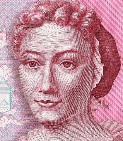 Merian pictured on the 500 DM banknote.
